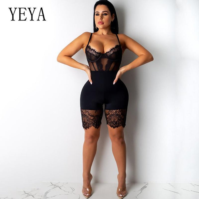 Yeya Women Sexy Sleeveless Bodycon Strap Lace Patchwork Romper Backless Bodysuit Short Pants Black-Rompers-YEYA Official Store-Black Long Sleeve-S-EpicWorldStore.com