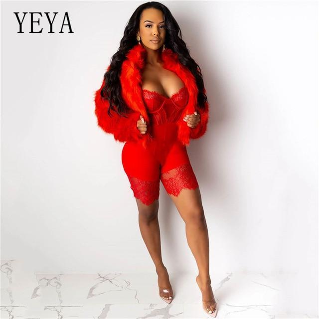 Yeya Women Sexy Sleeveless Bodycon Strap Lace Patchwork Romper Backless Bodysuit Short Pants Black-Rompers-YEYA Official Store-Red-S-EpicWorldStore.com