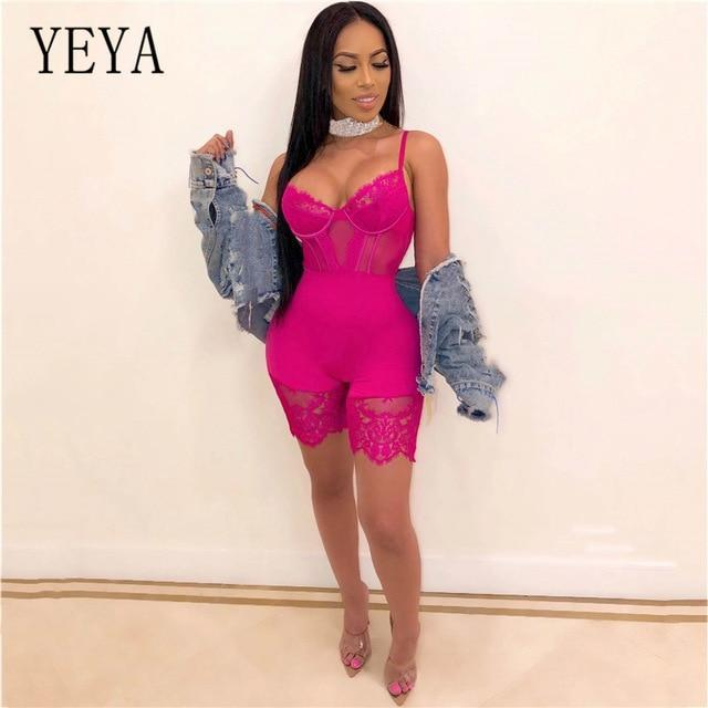 Yeya Women Sexy Sleeveless Bodycon Strap Lace Patchwork Romper Backless Bodysuit Short Pants Black-Rompers-YEYA Official Store-Rose Red-S-EpicWorldStore.com