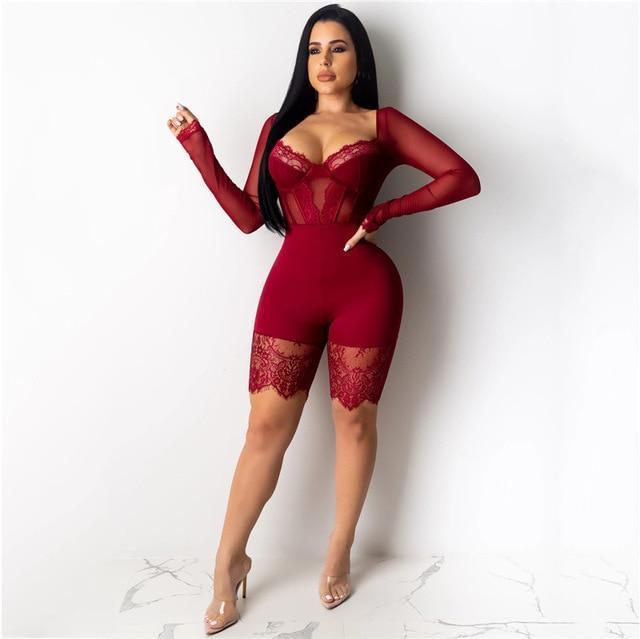 Yeya Women Sexy Sleeveless Bodycon Strap Lace Patchwork Romper Backless Bodysuit Short Pants Black-Rompers-YEYA Official Store-Wine Red Long Sleeve-S-EpicWorldStore.com