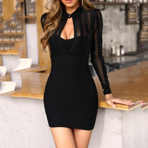 #Z35 Black Business Work Dress Women Long Sleeve Hollow Out Sheer Striped Mesh Patchwork Bodycon-Dresses-AliPartner-Black-S-EpicWorldStore.com