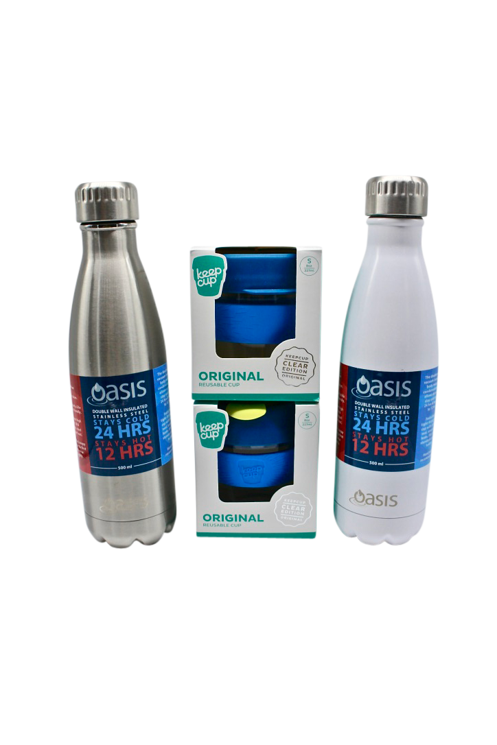 ECO GIFT PACK for couples to fit in their bag includes stainless steel bottle, keep cup
