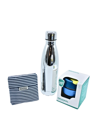 ECO GIFT PACK to fit in your bag includes stainless steel bottle, keep cup, reusable shopping bag