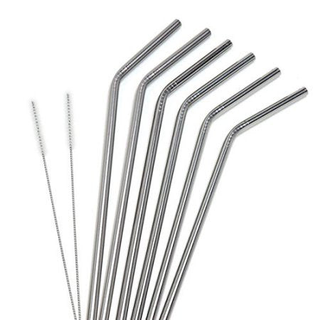 Reusable Stainless Steel Drinking Straws - 6pcs