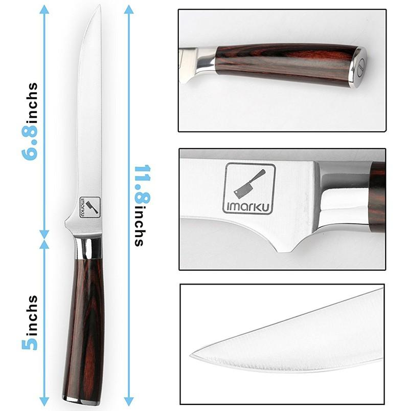 Boning Knife, Imarku 6-Inch Curved Deboning Kitchen Knife with Razor Sharp High Carbon Stainless Steel and Pakkawood Handle for Meat and Poultry