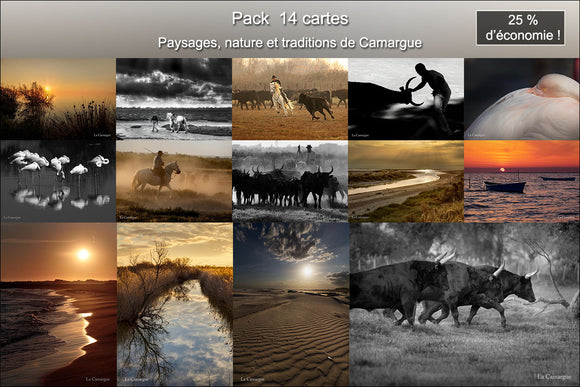 Pack 14 cartes postales paysages, nature et traditions de Camargue