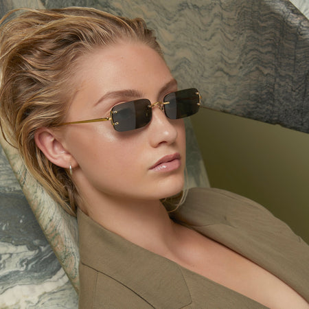 Taylor Rectangular Sunglasses in Yellow Gold and Grey