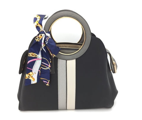 Image of Twilly scarf detail striped handbag
