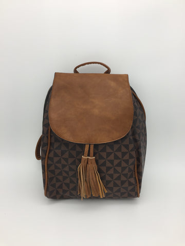 Geometric print flap backpack