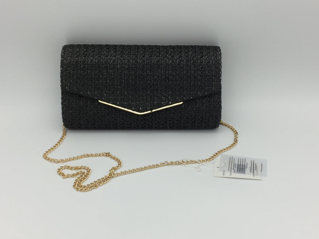 Woven straw effect clutch bag