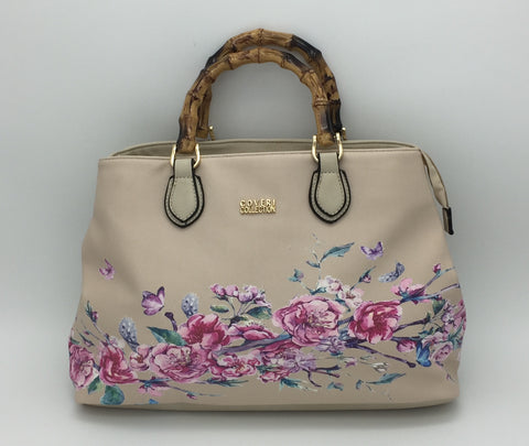 Floral print shoulder bag, long strap included