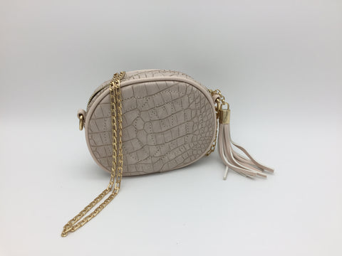 Crocodile embossed cross-body bag