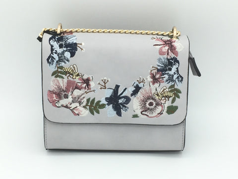 Floral embroidered chain bag