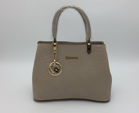 Gallantry croc embossed two handle shoulder bag