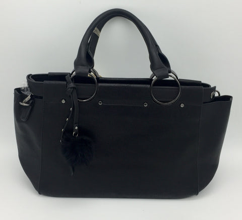 Image of Two handle detailed shoulder bag with inner pouch. Long strap included