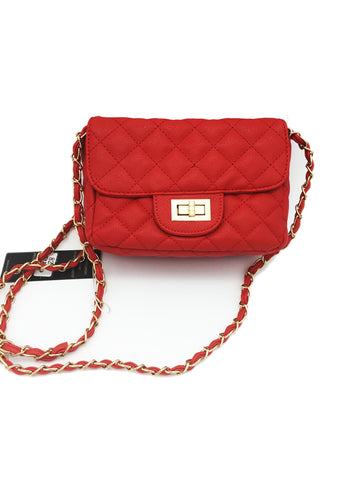Twist lock quilted chain side bag