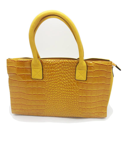 Croc embossed shoulder bag with double handle