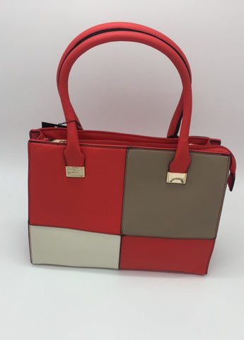 Brown, red & white two handle detail bag