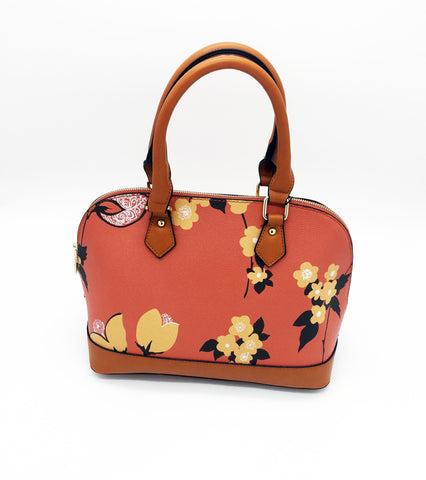 Floral print two handle shoulder bag