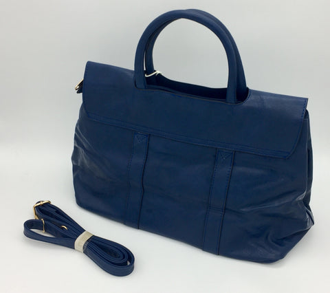 Two handle leatherette shoulder bag. Long strap included