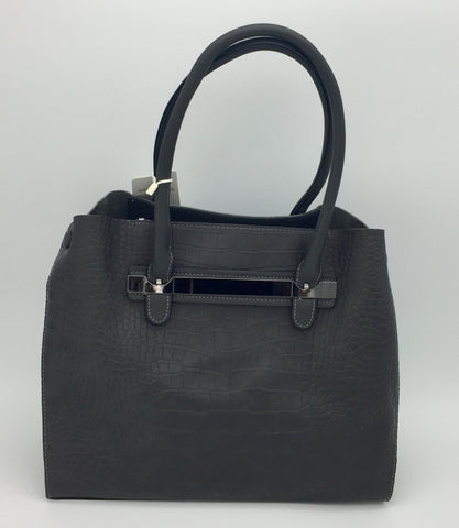 Croc Embossed Shoulder Bag With Double Handle. Long strap included