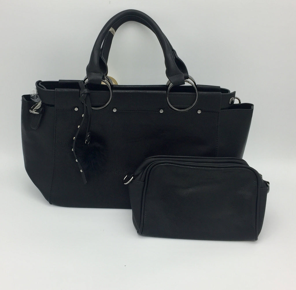 Two handle detailed shoulder bag with inner pouch. Long strap included