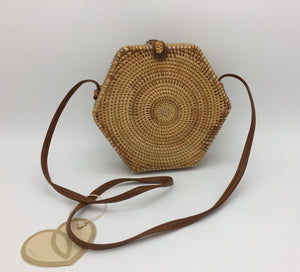 Brown straw effect woven side bag