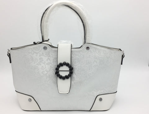 Two handle white shoulder bag