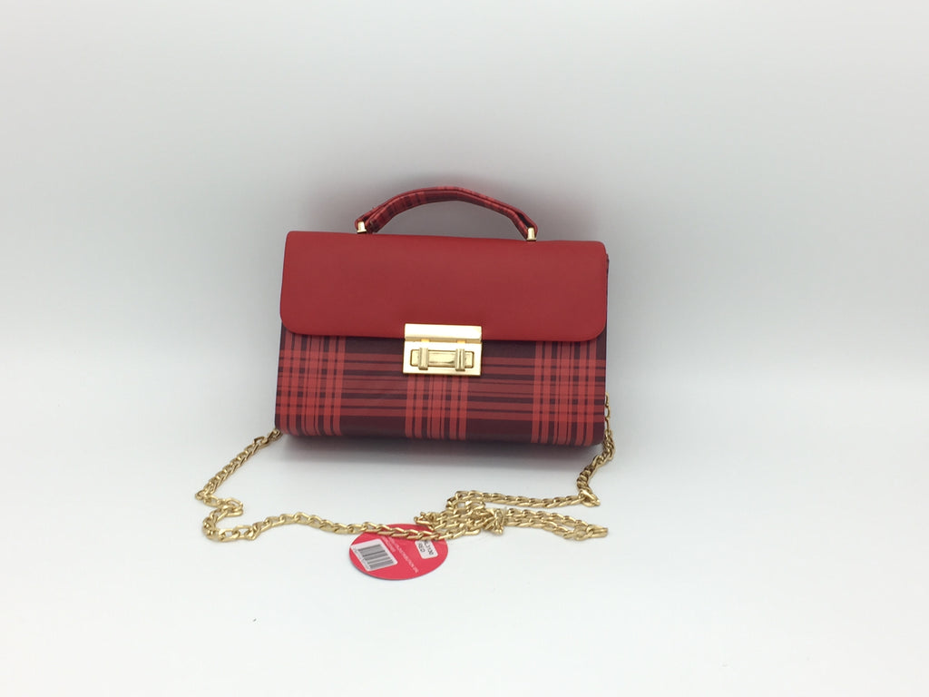 Twist lock design plaid pu cross body bag