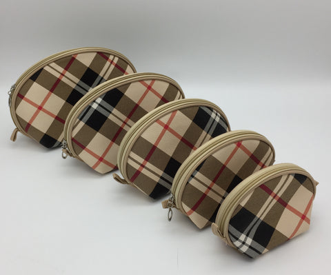 Plaid Pu cosmetic bags 5pieces