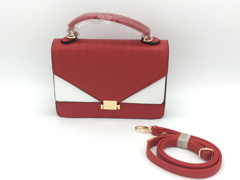 Colour block PU satchel bag