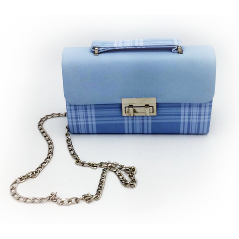 Image of Twist lock design plaid pu cross body bag