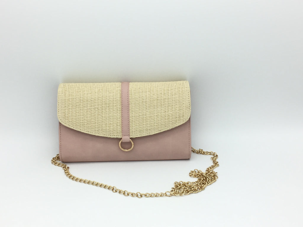 Straw effect woven side bags