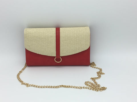 Image of Straw effect woven side bags