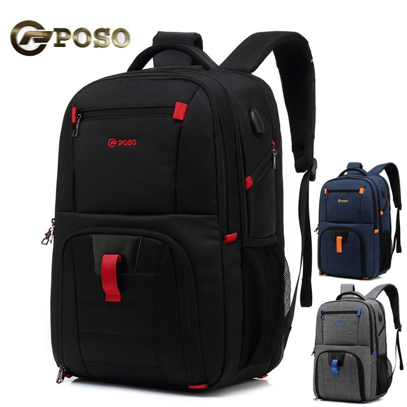 black Anti Theft Men Backpack with USB Leather Waterproof Large Capacity