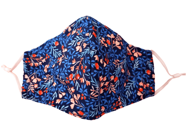"Face Mask with Filter Pocket ""Blue Floral"" - Alexanto Aprons"