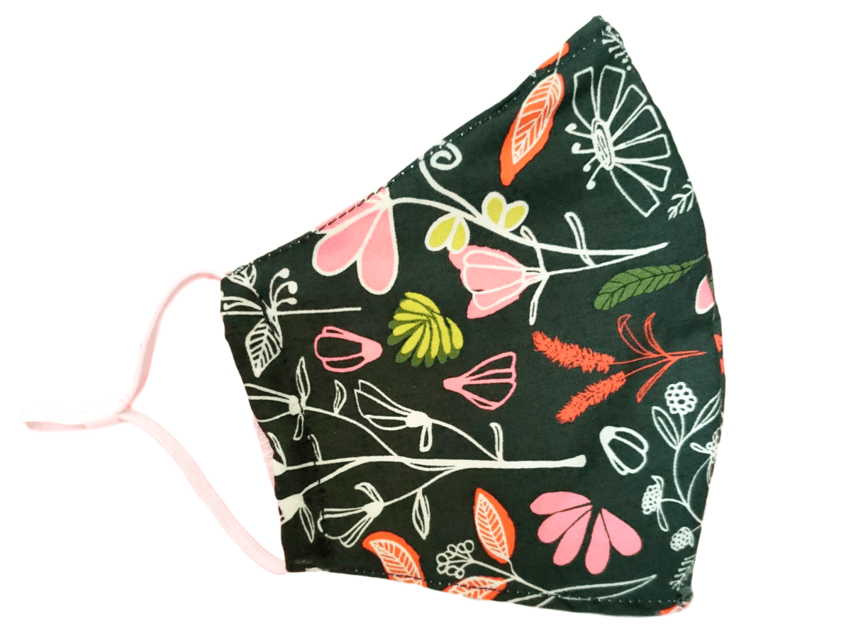 "Face Mask with Filter Pocket ""Green Floral"" - Alexanto Aprons"