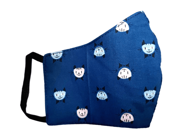 "Kid's Face Mask ""Blue Cat"" 3 pack - Alexanto Aprons"