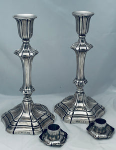 Pair of English Mid-Victorian Sterling Candlesticks, Henry Wilkinson & Co, Sheffield, 1845 & 1849