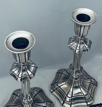 Load image into Gallery viewer, Pair of English Mid-Victorian Sterling Candlesticks, Henry Wilkinson & Co, Sheffield, 1845 & 1849