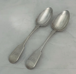 Pair of Canadian Tablespoons, George Savage and Son, Montreal & Toronto, 1829-1843