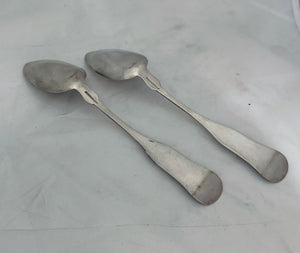 Pair of Nantucket Table Spoons, James Easton, 1828-1830