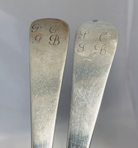 Fabulous Pair of Scottish Provincial Tablespoons, Shirras of Banff, c.1750