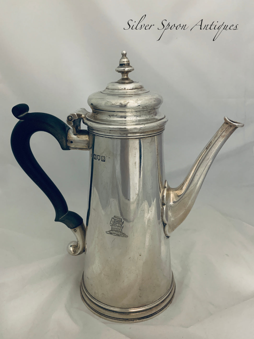 English Sterling George I Style Coffee Pot, London, 1913