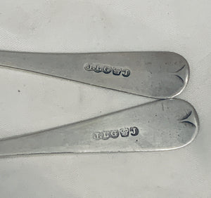 Pair of Bright-Cut Jersey Teaspoons, Jean Le Gallais.