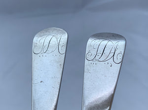 Rare Pair of Bermuda Tablespoons, George HUTCHINGS, circa 1830s.