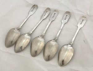 Set of five York sterling teaspoons, BARBER and NORTH, 1844