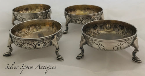 RARE Set of Four Irish Provincial Salts, George HODDER, Cork, 1760s