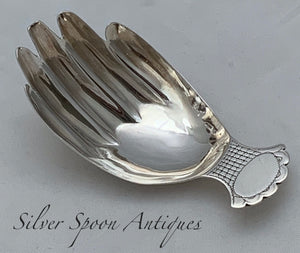 Rare Hand Shape Caddy Spoon, JS, London, 1806