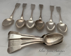 RARE set of 12 Channel Islands Dessert Spoons, Jean Le GALLAIS, Jersey, 1850s